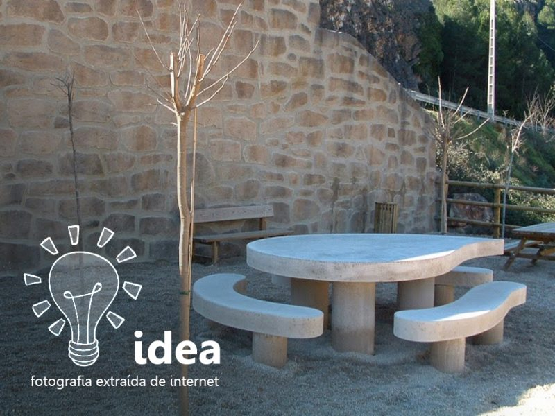 Conjunto de jardín: mesas y bancos de hormigón a medida